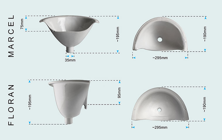 Urine separator dimensions